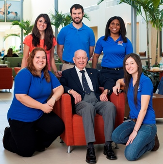 Dr. Paul Nicoletti kicked off the new scholarship initiative with a challenge-matching gift of $100,000. He is surrounded here by UF veterinary students, all of whom are or have been scholarship recipients.