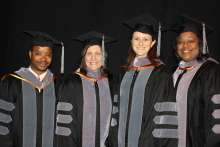 Dr. Glen Wright, Dr. Natalie Isaza, Dr. Johanna Elfenbein and Dr. Lauren Davidson all were honored May 23 during college commencement exercises as recipients of the UFCVM's 2015 Distinguished Awards.