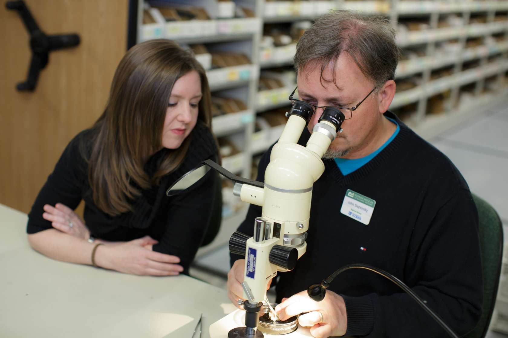Dr. Walden looking at snails