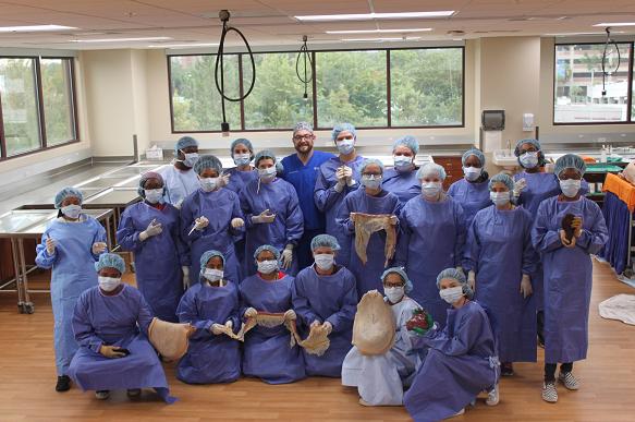 Clinical skills lab shot during Gator Vet Camp.