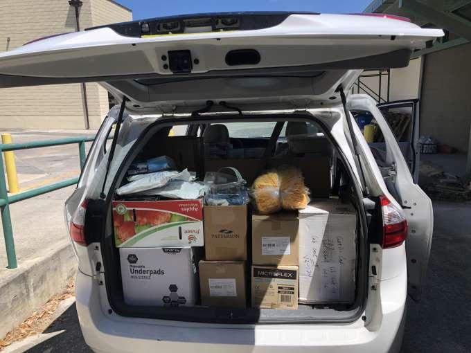 Packed minivan